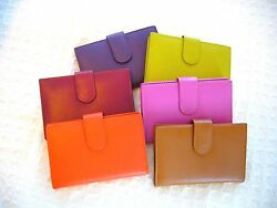 WOMEN'S FINE LEATHER CREDIT CARD WALLET PURSE ID HOLDER COINS HOT COLORS SO SOFT