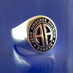 U. S. Army 82nd Airborne Ranger Ring - Solid Sterling Silver