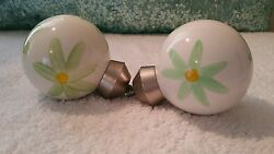 Pottery Barn Kids Pair Of Green White Yellow Flowers Finials