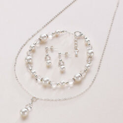 Wedding Jewellery Set for Bride or Bridesmaid Choice of Pearl Colour. Gift Box