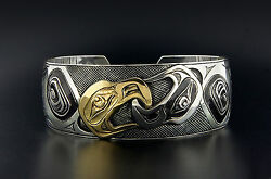 Unisex Combination 14k Gold And Silver Yin Yang Native American Eagles Bracelet