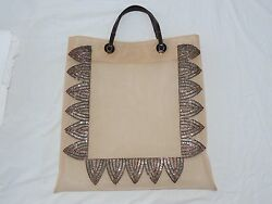 FENDI - EVENING TOTE BAG - BEIGE TRANSLUCENT WITH BUGLE BEAD DESIGN $2,450.00