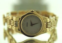 14k Yellow Gold Ladies Crystal Sapphire Movado Watch