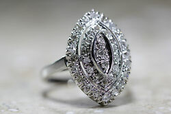 Antique Art Deco Marquise Shaped Cocktail Diamond Ring 14k W Gold 1930and039s