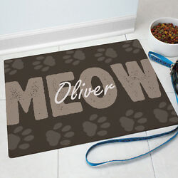 Meow Cat Pet Food Personalized Mat GIFT - Custom Floor Mat with Paw Prints