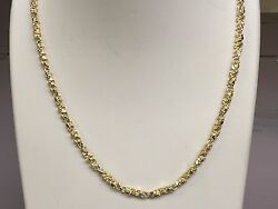 14kt Solid Yellow Gold Handmade Nugget Link Chain/necklace 20 27 Grams 4 Mm