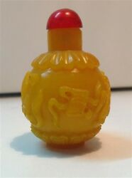 Antique Chinese Yellow Peking Glass Snuff Bottle Qing Dynasty M907