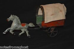 Antique Tin Toy Covered Wagon With Green Horse George Brown /hull Stafford