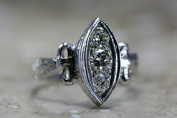 Antique Marquise Shape Diamond Ring 14k W Gold 1930's Hand Engraved