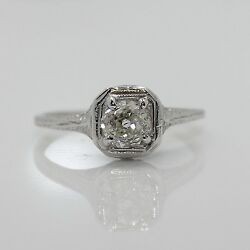 Antique 14k White Gold Rose Cut Diamond 0.60 Ct Engagement Ring Size 6 Sizable