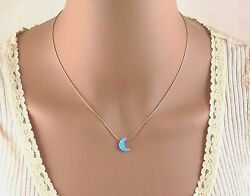 Gold Moon Opal Necklace Silver Opal Necklace Moon Opal Necklace Blue Opal