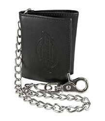 New Dickies Black Leather Trifold Tri Fold Wallet with Metal Chain $19.95