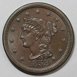1853 N-11 R-2 E-mds Tcc8, 2 For The Die State Braided Hair Large Cent Coin 1c