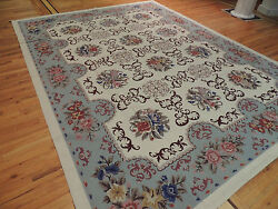 9x12 French Aubusson Needlepoint Oriental Area Rug Blue Beige Purple Floral