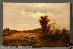 19th Century Oil Painting Of An Autumn Landscape With Cloudy Sky American