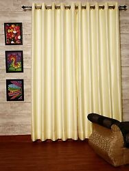 Ivory Faux Silk Curtains, 50
