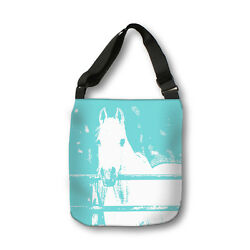 White Horse Teal Cross Body Tote Bag Modern Body BagMessenger BagAnimalKids