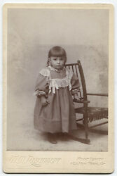 Cabinet Card Very Young Girl Posed At Childs Chair, Too Cute. Mount Vernon, N.y.