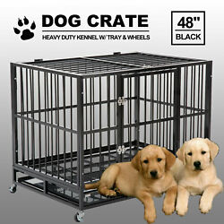48 Black Heavy Duty Dog Crate Cage Pet Kennel Playpen Exercise W/ Metal Tray Us