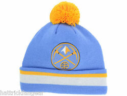 Denver Nuggets Mitchell And Ness Nba Basketball Jersey Team Pom Knit Hat/beanie