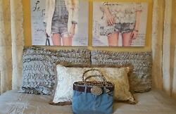 Blue Jeans Complete Bedroom Set Decor Gray Blue Ruffle Girl Teen Dorm Comforter