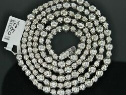 Mens 1 Row 2 Ct Rosary Link Solitaire Bezel Set Diamond Chain Necklace 34