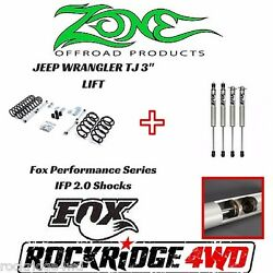 Zone Offroad 3 Jeep Wrangler Tj Lj 97-02 Suspension Lift Kit W/ Fox Performance