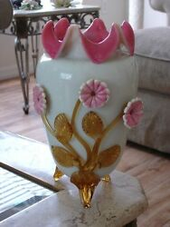Victorian Antique Art Glass Hodgetts, Richardson And Son Opal And Ruby Lined Vase.