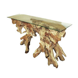 Natural Teak Console Indoor Outdoor Furniture Decor Very Heavy