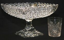 Not Abp, Compote, C1990's Cut Glass, Bowl, Unsigned, Russian Pattern, 10 Sq