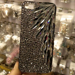 For Mobile Phone Sparkly Gray Feather Crystals Gun Black Rhinestones Hard Case