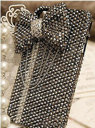 For Mobile Phone Sparkly Fashion Punk Bow Gun Black Rhinestones Taseel Hard Case