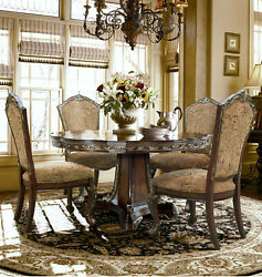 Classic European Formal Round Dining 5 Pc Set Round Table 4 Chairs Walnut Bronze