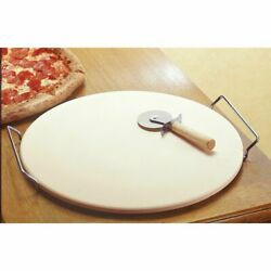 Pizza Stone Baking Set Chrome Stand Serving Tray Free Wooden Pizza Cutter