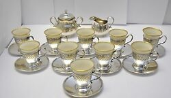 And Co. Sterling Silver Cup And Saucer Sets 10 W/ Inserts + Cream And Sugar