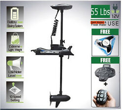 Black Bow Mount Trolling Motor 55 Lbs 12v With Extra Prop Foot+wireless Control