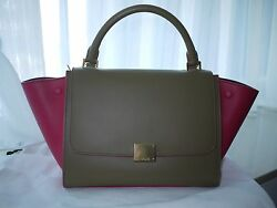 New Auth Celine Trapeze Luggage Bag Bicolor Leather Beige Pink Small Size