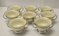 Set Of 8 And Co Sterling Silver Bouillon /tea /coffee Cups And Lenox Inserts