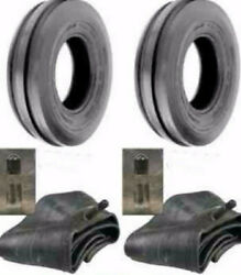 Two 500x15 500-15 5.00x15 5.00-15 3 Rib Tractor Tires W/tubes Free Shipping