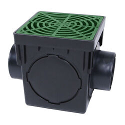 Storm Drain Fsd-120-k 12 Square Catch Basin With Green Grate Drain Box Kit