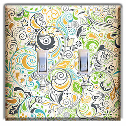 Floral Tan Green LIGHT SWITCH  PLATE Cover Wall Decor Kitchen