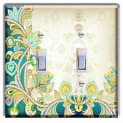 Floral Blue Teal LIGHT SWITCH  PLATE Cover Wall Decor Kitchen