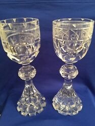 Rare Pair 2 Of St. Louis France Footed Heavy Crystal Signed/numbered Vase 12