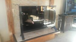 Modern Glass Fireplace Screen 1/2silver Frame And 3/8 Black Frame Tempered
