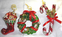 Frontgateand039s Set Of 3 Oversized Blown-glass Christmas Ornaments-wreath/candy Cane