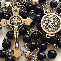 Blue Jade Prayer Beads And Silver Rose Beads Rosary Italy Cross Catholic Necklace
