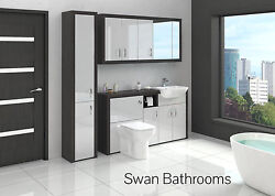 Hacienda / Light Grey Gloss Bathroom Fitted Furniture With Wall Units 2000mm