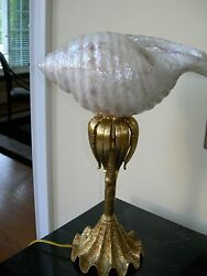 Maitland Smith Decorative Brass Table Lamp With White Oyster Shell Inlaid Shade