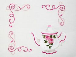 English Rose Teapot Embroidered Quilt Label Custom For Quilt Tops And Blocks