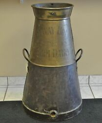 Vintage Metal Halfway House Farm Dairy Large Milk Container 33 Brass And Copper